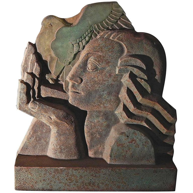 """Woman with Dove"" Stunning Art Deco Sculpture, Terra Cotta and Glass 1"