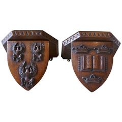 Pair of 19th Century Carved Oak Wall Brackets, Armorial Crests
