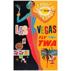"Original Vintage Trans World Airlines Poster by David Klein ""Las Vegas Fly TWA"""
