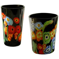 Hans Neidhart at Pavanello, Pansy Poppy Pair of Vases Black Background, Murano