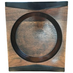 Mark Cross Walnut and Leather Vide-Poche
