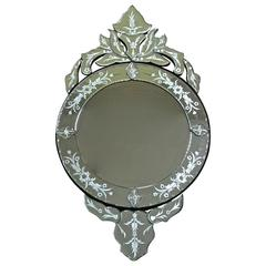 Vintage Venetian Etched Glass Circular Wall Mirror