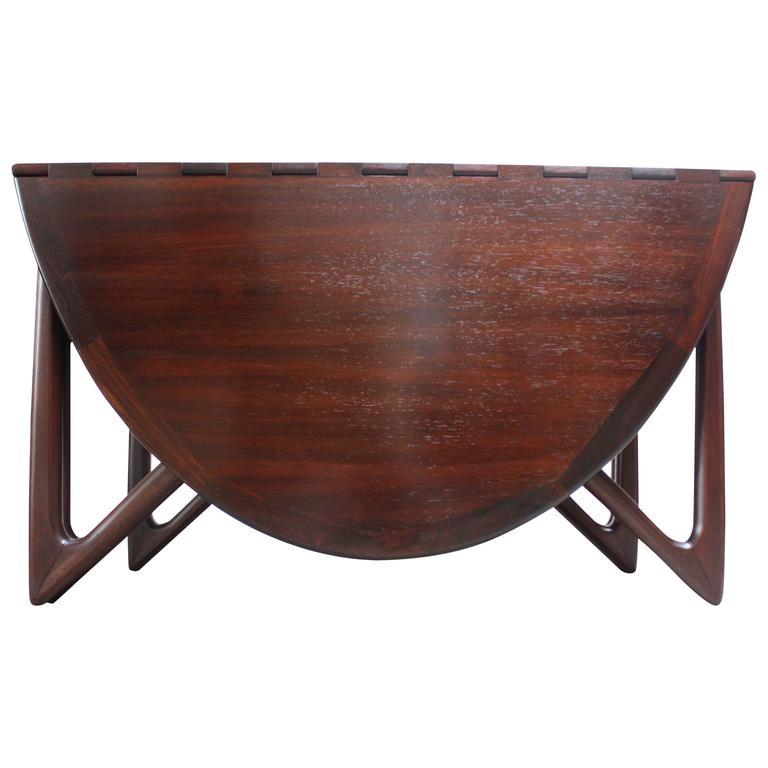 Niels Koefoed Elliptical Rosewood Gateleg 'Eva' Dining Table Model #304 1