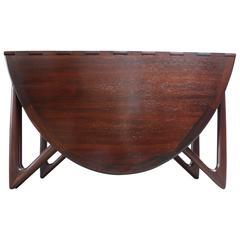 Niels Koefoed Elliptical Rosewood Gateleg 'Eva' Dining Table Model #304