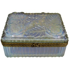 French Art Deco Opalescent Sabino Glass Box with Mounted Ormolu