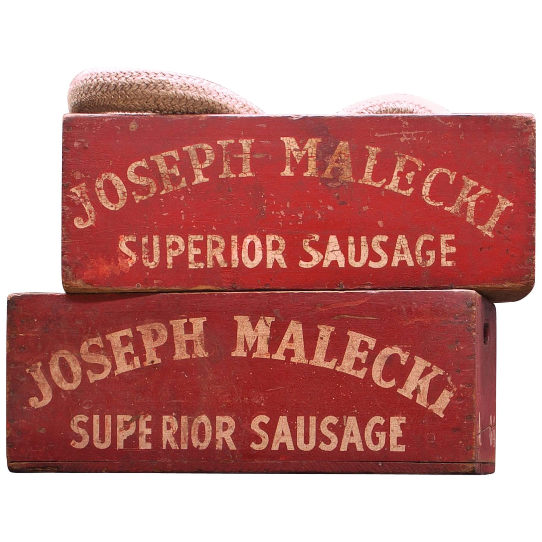 Industrial Red Hand-Painted Crates Joseph Malecki Buffalo New York Folk Art