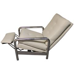 Milo Baughman Chrome Recliner Lounge Chair for Thayer Coggin