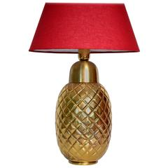 Decorative Regency Brass Pineapple Ananas Table Lamp, Italy, 1970s