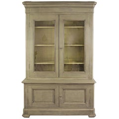 19th Century French Painted Pine Cupboard Bookcase Dresser Display Cabinet