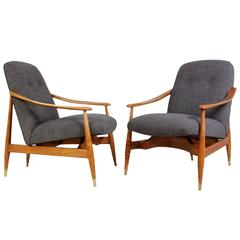 Mid-Century Pair of Cherry and Wool Armchairs