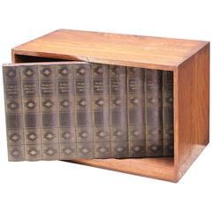 1950s Japanese-Made Prohibition Hidden Revolving Liquor Cabinet Library Box