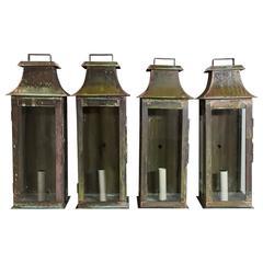 Set of Four Copper Wall Lanterns