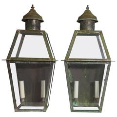 Pair of Large Architectural Wall Lanterns