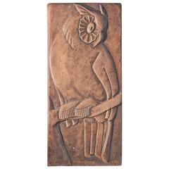 """Eagle Owl,"" Art Deco Bas Relief Sculpture by WPA Artist, 1933"