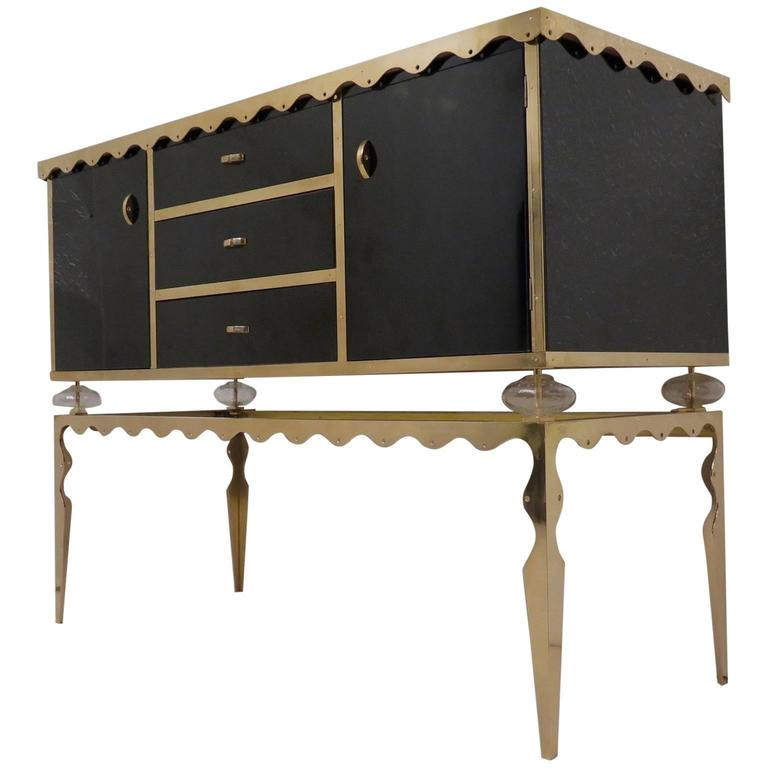 Pairs of 2016 Black Glass and Brass Italian Sideboards