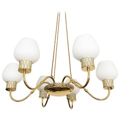 Swedish Brass Chandelier with Opaline Glass Shades by Josef Frank