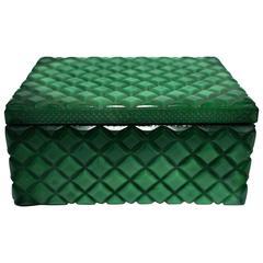 Vintage Malachite Green Style Glass Box