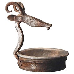 """""""Antelope Pin Dish,"""" Hand-Forged Art Deco Piece, Wrought Iron and Pewter"""