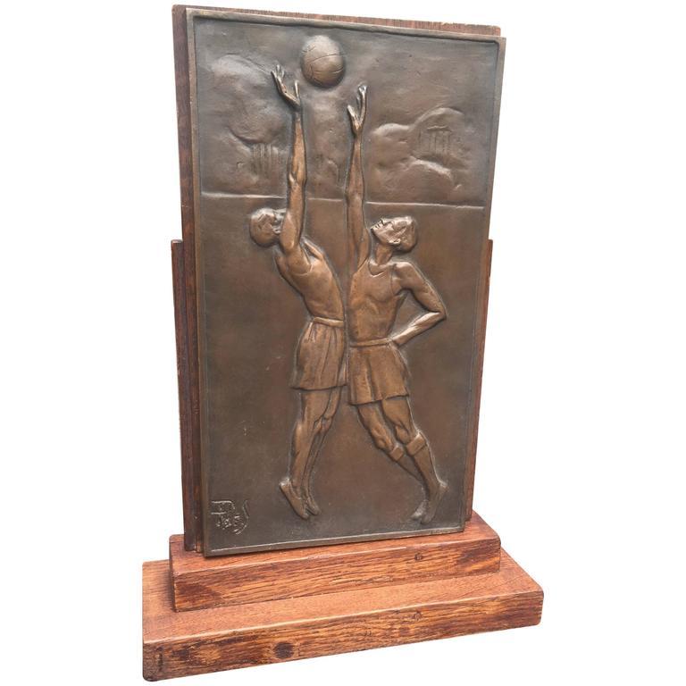 Stunning Art Deco Bronze Basketball Plaque Table or Desk Piece on Solid Oak Base