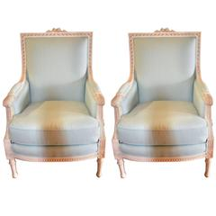 Pair of Louis XVI Style Painted Bergeres Chairs