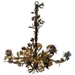 Beautiful Mid-Century Italian Gold Gilt Tole Chandelier, Italy