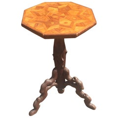 Antique Carved Wooden Tripod Wine Table or Plant Stand with Marquetry Inlaid Top