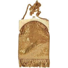 Whiting & Davis Gold Metal Mesh Fringe Handbag