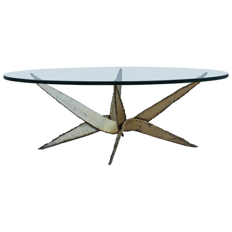 1970s Torch Cut Steel Brutalist Coffee Table