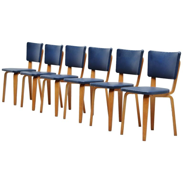 Cor Alons Plywood Dining Chairs in Blue Faux Leather, 1949 1