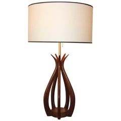 Adrian Pearsall Attributed Sculptural Walnut Table Lamp