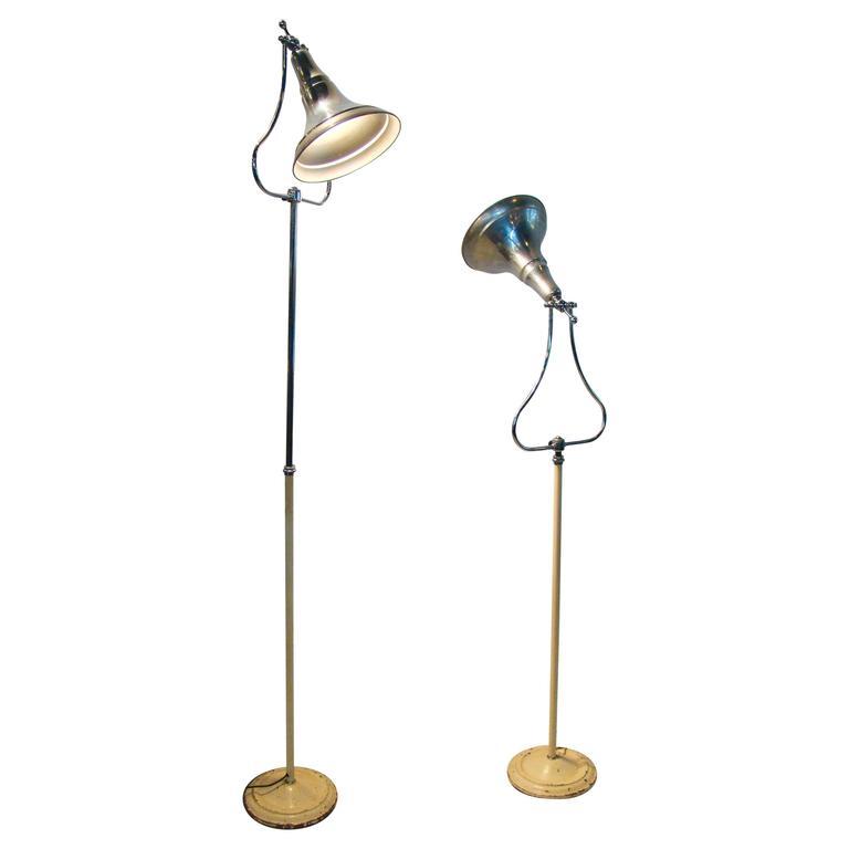 Machine Age Art Deco Industrial Medical Aluminium Chrome Floor Lamps For Sale