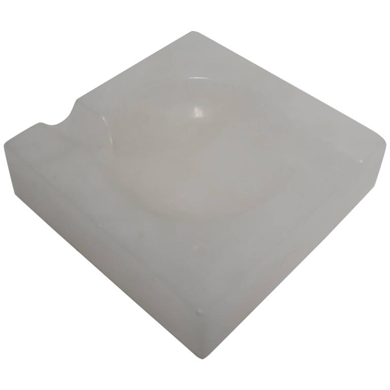 Italian Modern White Alabaster Marble Ashtray or Vessel, Italy