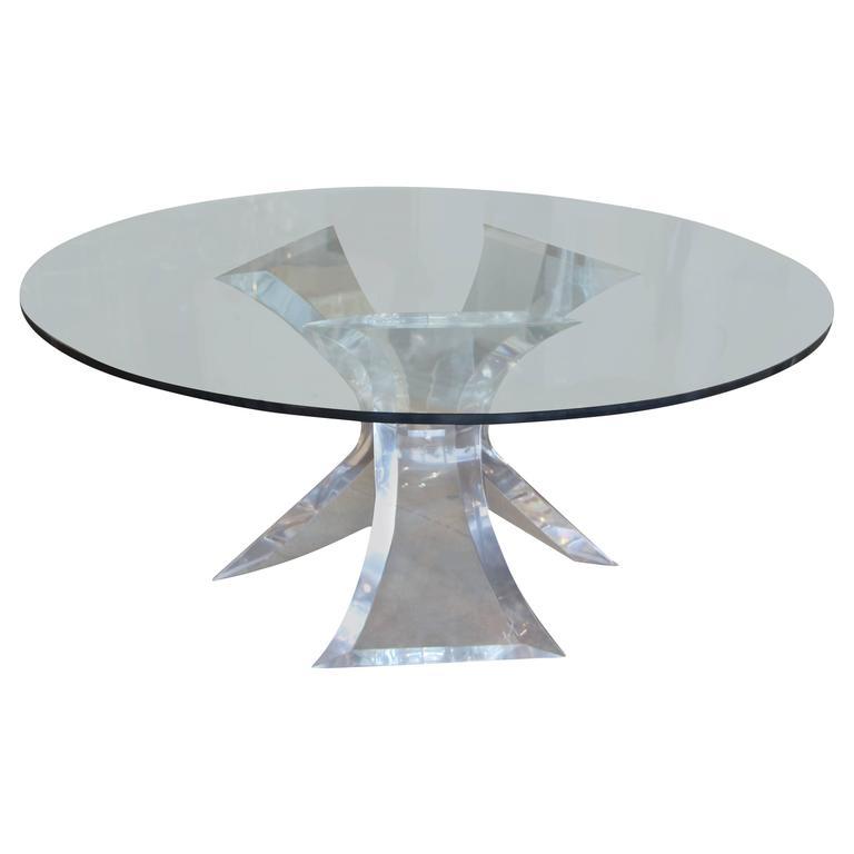 Unusual leon frost lion in frost triple base dining table for Unusual dining table bases
