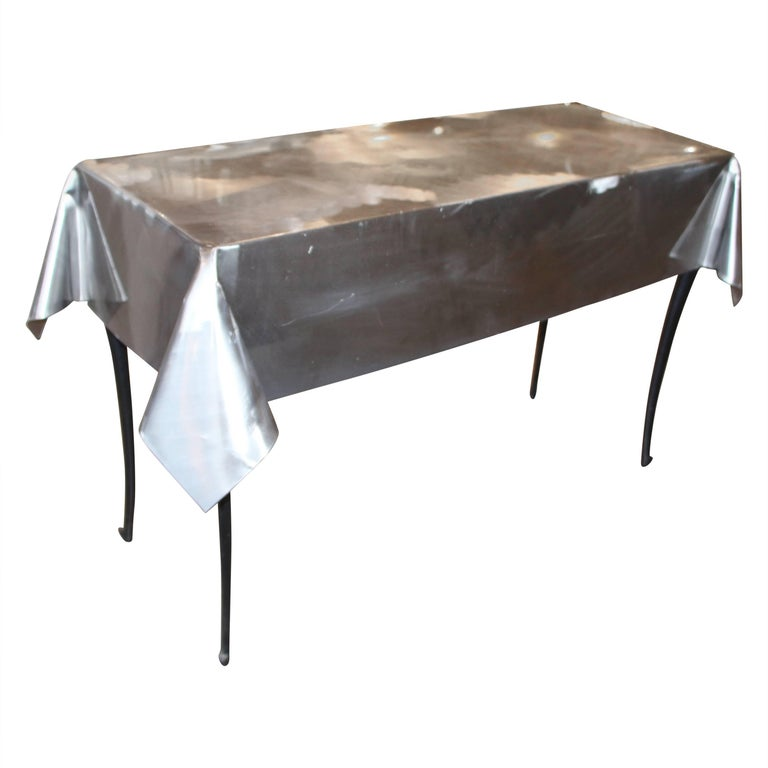 Metal Draped Console Table With Legs For Sale At 1stdibs