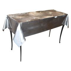 Glass Top Aluminum Saw Horse Leg Table Or Desk For Sale At