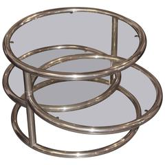 Rotating Multi Level Chrome and Glass Table