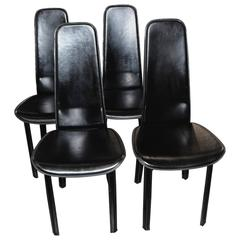 Set of Four Cidue Italian Black Leather Chairs