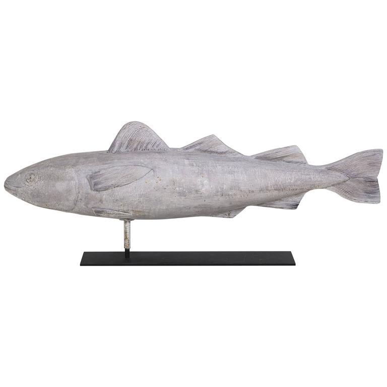 Carved wooden fish weathervane at stdibs