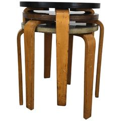 Set of Three Alvar Aalto Style Bent Wood Stools or Tables by Thonet