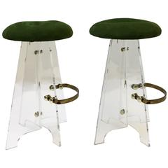 Pair of Acrylic and Suede Leather Swivel Barstools