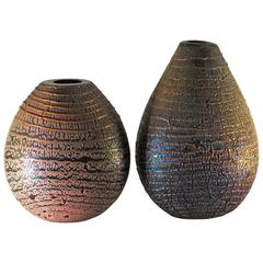 Pair of Crackled Black Iridescent Vases with Avventurina Stripe by Sergio Rossi