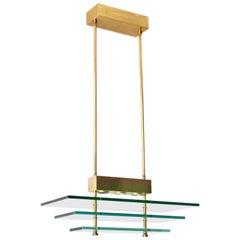 Postmodern Rectangular Form Polished Brass and Glass Pendant Chandelier