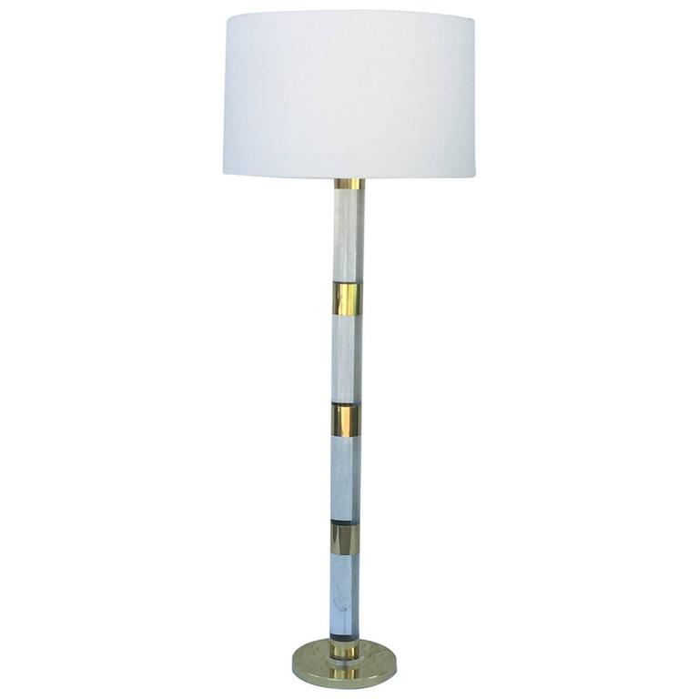 Acrylic And Polished Br Floor Lamp By Frederick Cooper For