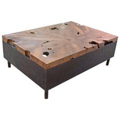 Andrianna Shamaris Teak Wood and Metal Coffee Table
