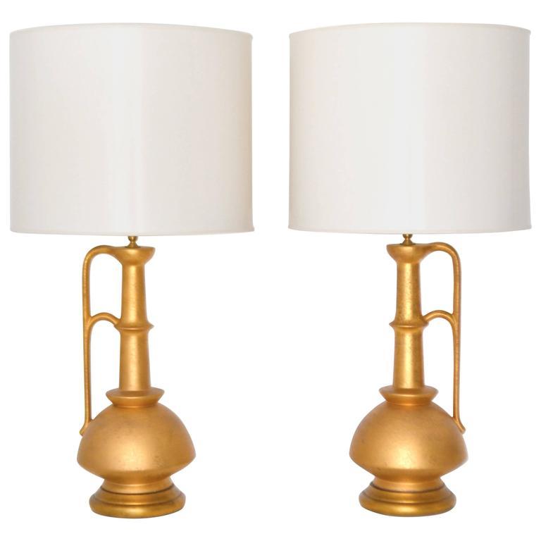 Pair of Italian Mid-Century Ceramic Jar Form Table Lamps