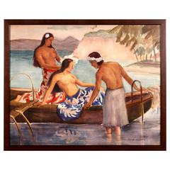 Hawaiian, Polynesian Watercolor Painting by Fred D. Penney, 1942