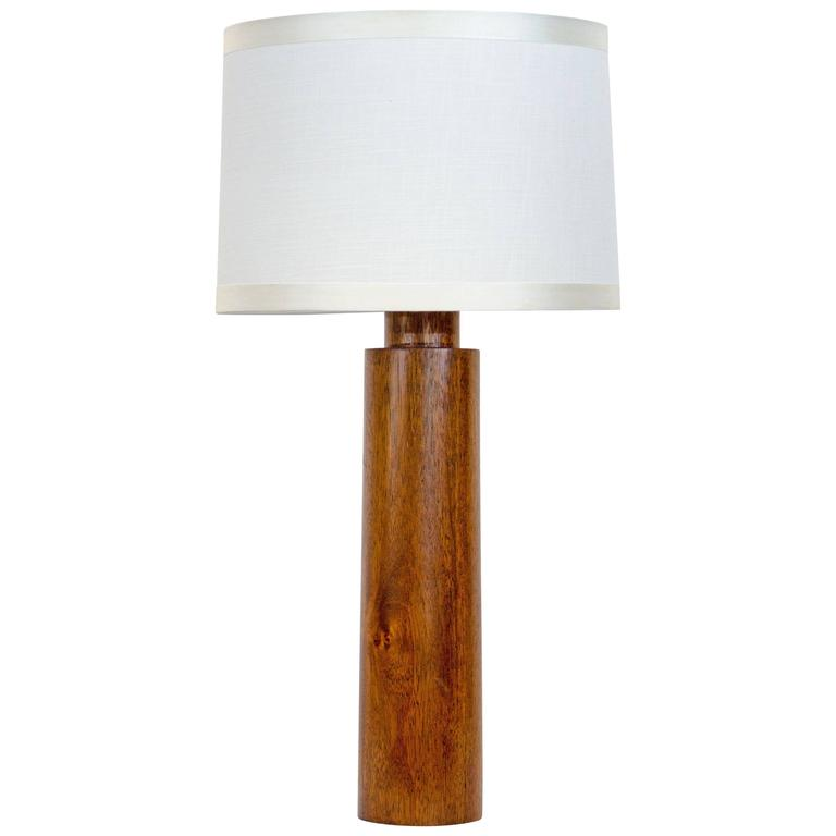 Mid Century Cylindrical Mahogany Table Lamp