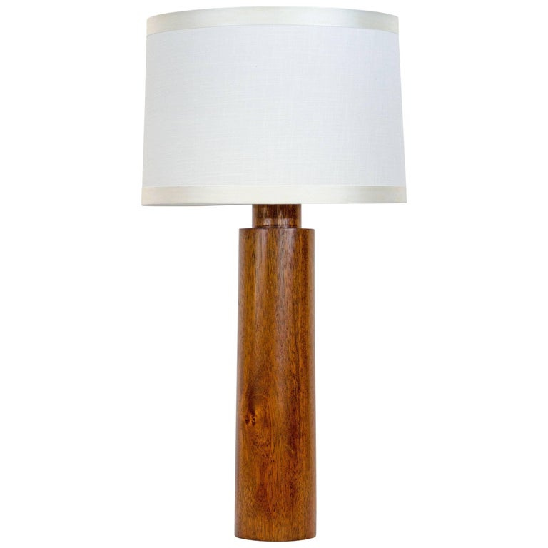 Mid-Century Cylindrical Mahogany Table Lamp For Sale