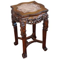 Antique Carved & Signed Chinese Rosewood & Marble Inlaid Plant Stand / End Table