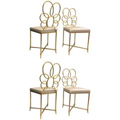 Rene Prou Rare Superb Witty Four-Flower Gold Leaf Wrought Iron Chairs in Silk